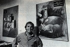 Joe Martin with some of his paintings at Buckin' A coffee house. (Tribune photo by Gerald West)